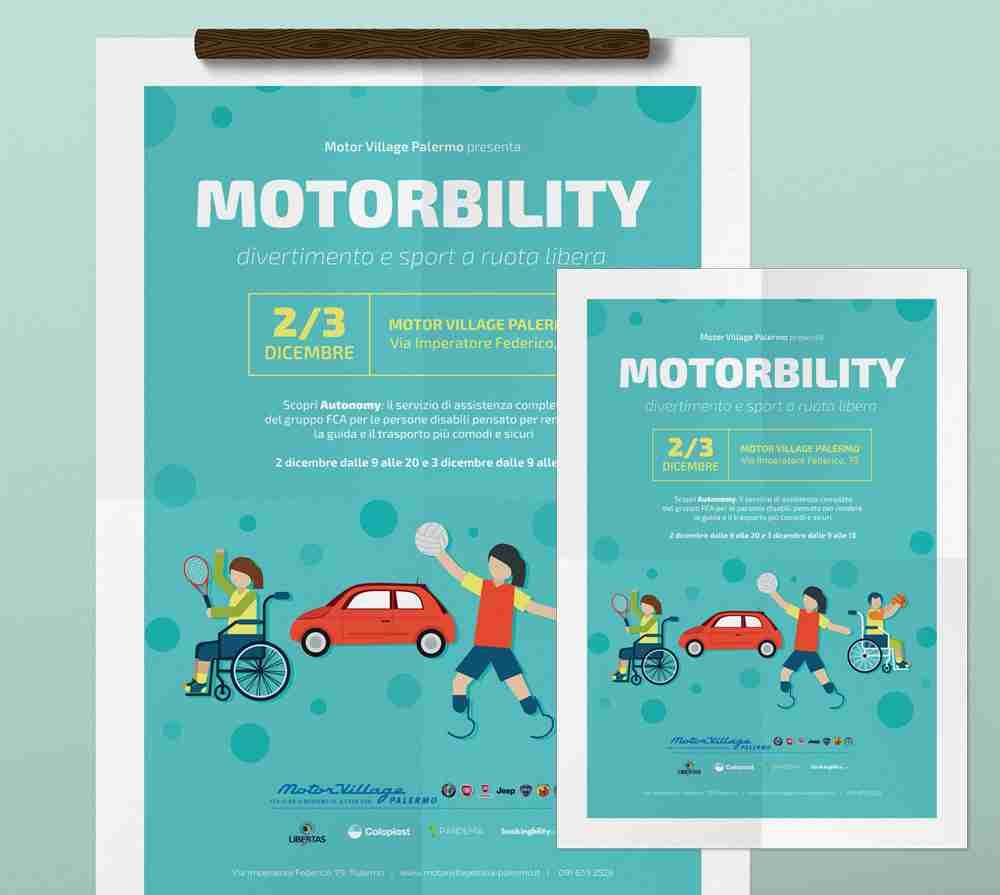 Locandina e flyer A5 motorbility FCA