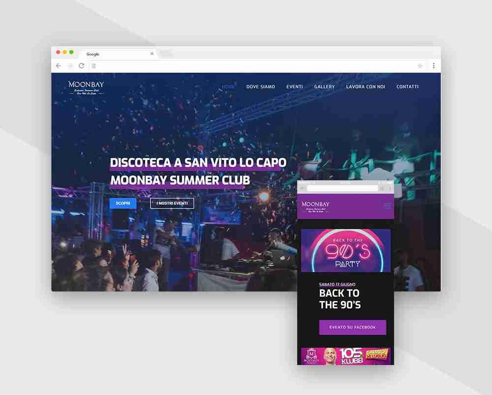sito web per discoteca
