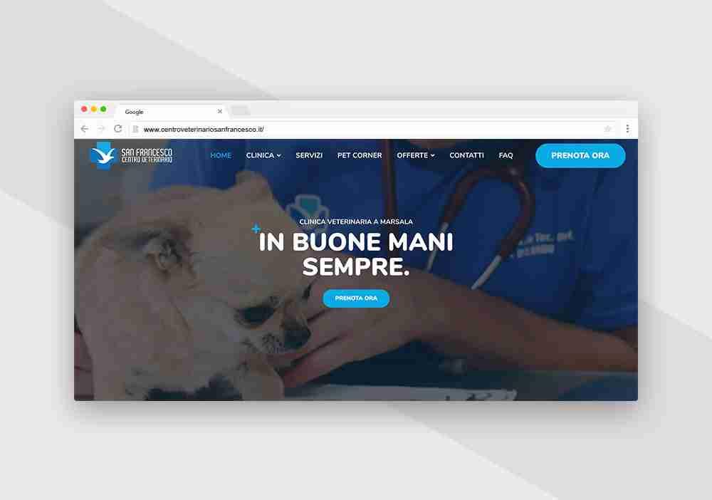 sito web per centro veterinario san francesco di Marsala realizzato da Pandemia web agency